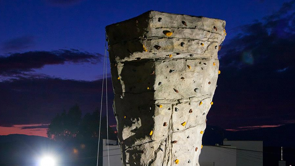 CLIMBING WALL, AT NIGHT
