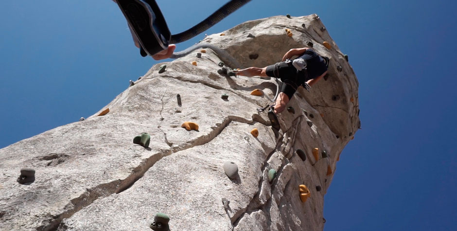 CLIMBING WALL, LOW ANGLE PERSPECTIVE
